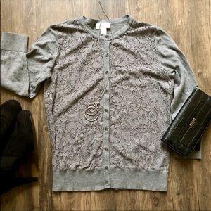 Loft Gray Lace Front Cardigan